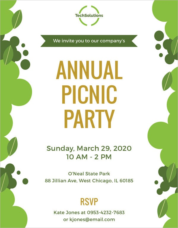Picnic Invitation Template 26 Sample Example Format Download