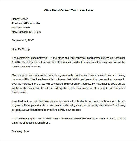 Attractive Standard Office Rental Contract Termination Letter Sample DOC Pertaining To Business Termination Letter Sample