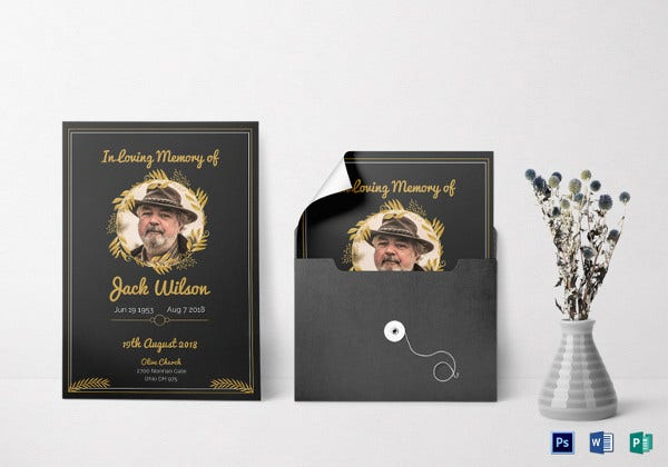 psd funeral invitation card template