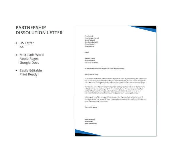 partnership dissolution letter
