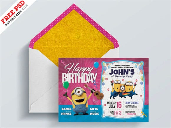 photoshop kids birthday invitation card
