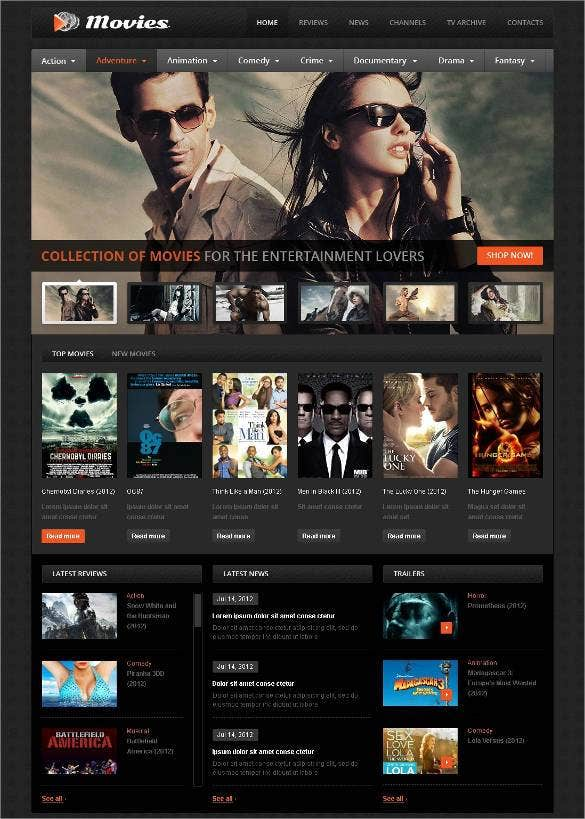 premium movie flash cms template1