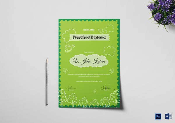 preschool award certificate template in psd format