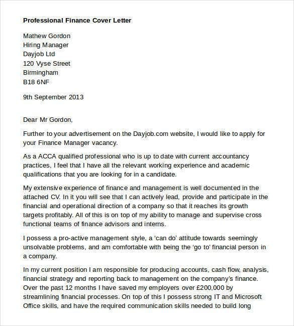 professional finance cover letter