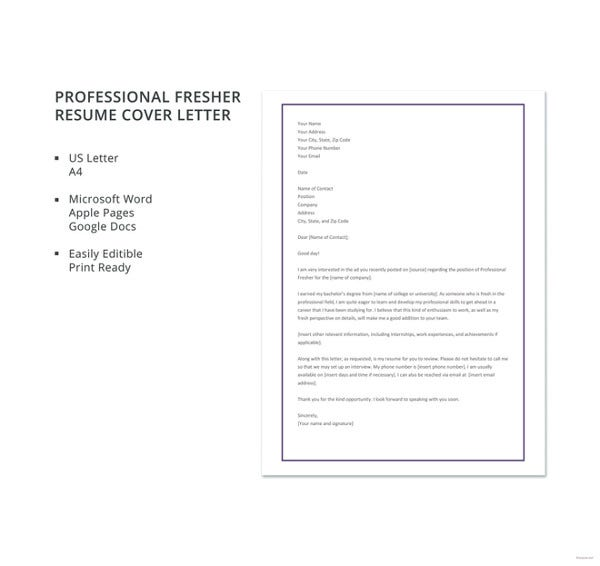 professional fresher resume cover letter template1