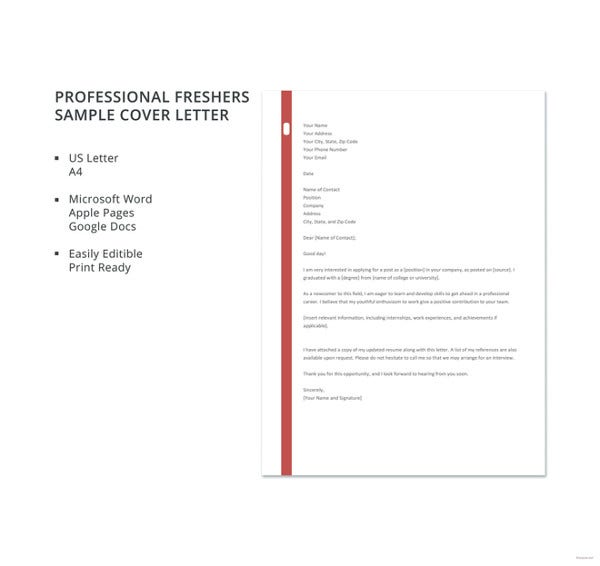 Professional Freshers Sample Cover Letter Template1