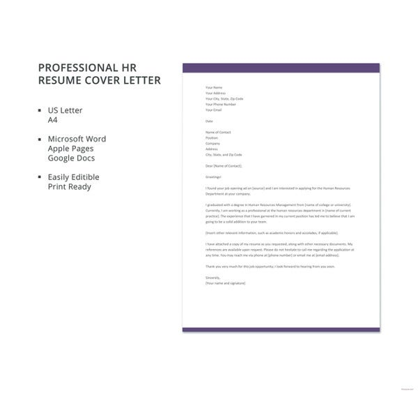 professional hr resume cover letter template