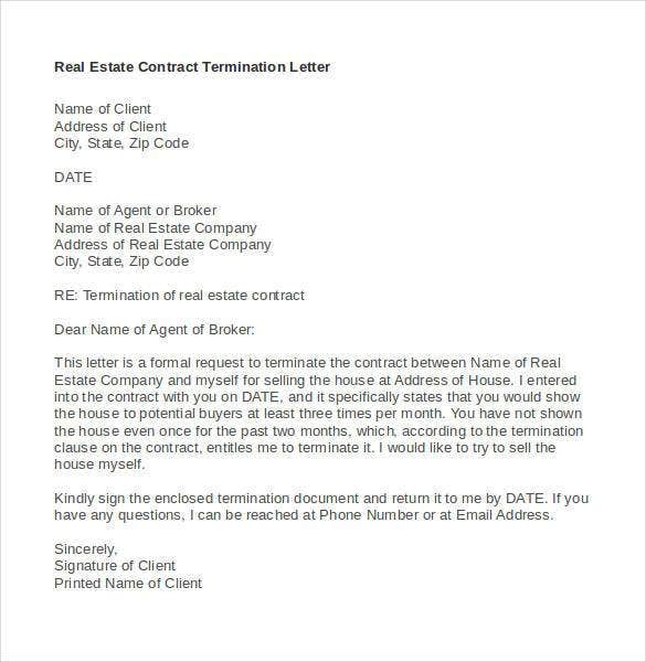 Contract Termination Letter Template - 20+ Free Sample, Example ...