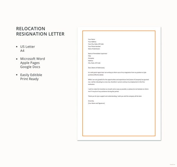 relocation resignation letter template