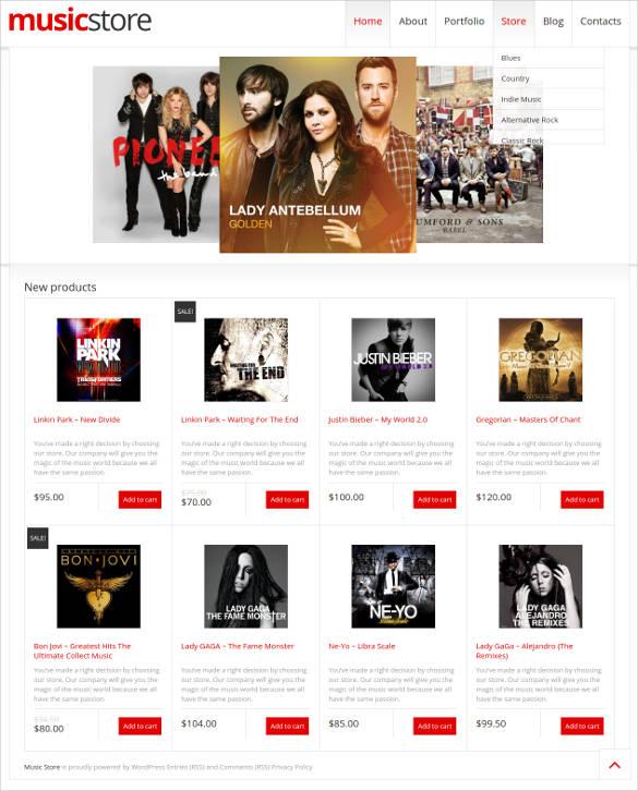 responsive music store woocommerce theme
