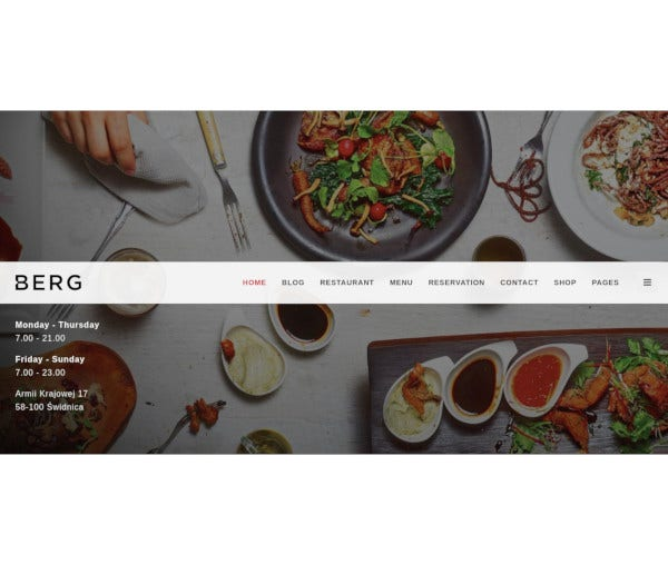 restaurant dedicated html5 template