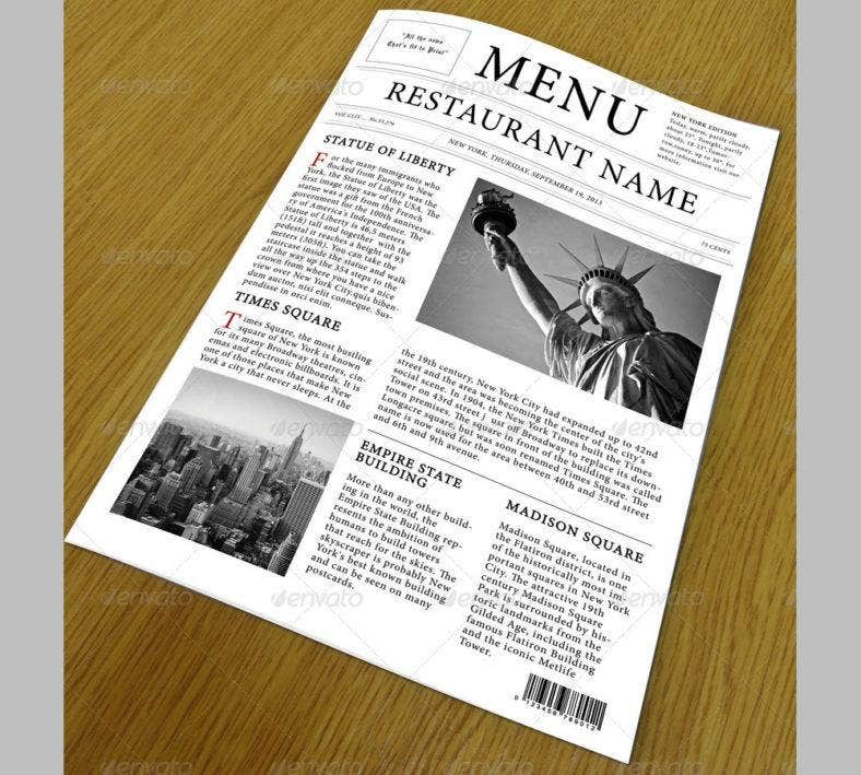 restaurant menu newspaper style template1 788x709