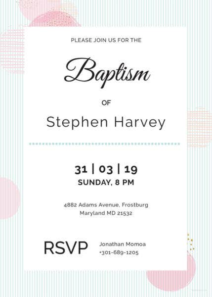 sample baptism invitation template