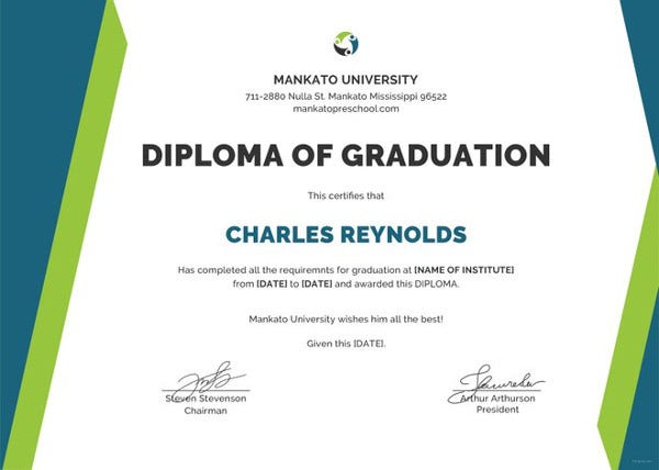 sample diploma certificate template