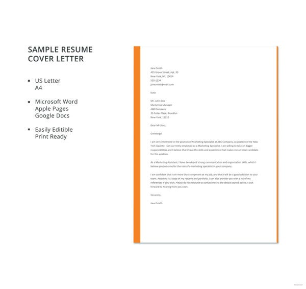 Sample Job Resume Cover Letter Template