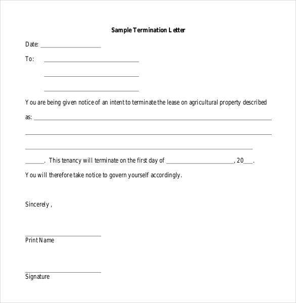 sample lease termination letter free download - Termination Letter For Tenant From Landlord