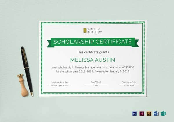 scholarship certificate template