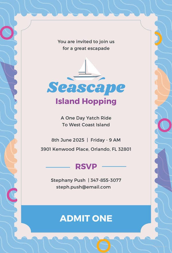 seascape ticket invitation template1
