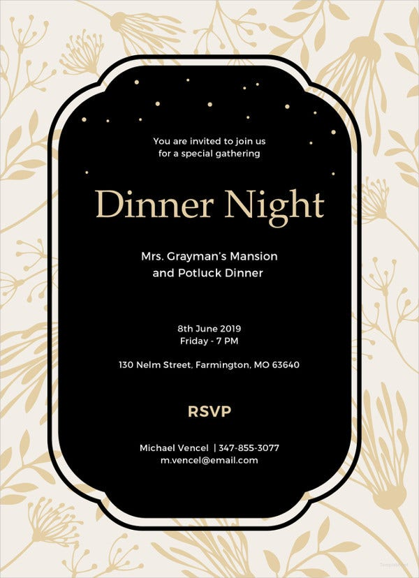 Simple Dinner Invitation Template  Dinner Invitation Template