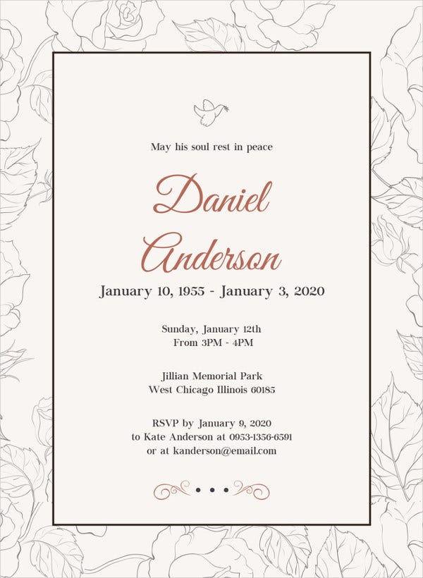Simple Funeral Invitation Template  Invitation For Funeral