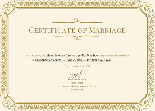 simple marriage certificate template