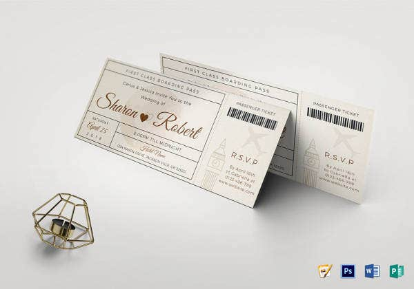 simple wedding boarding pass invitation ticket