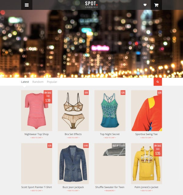 spotcommerce blogger shopping template