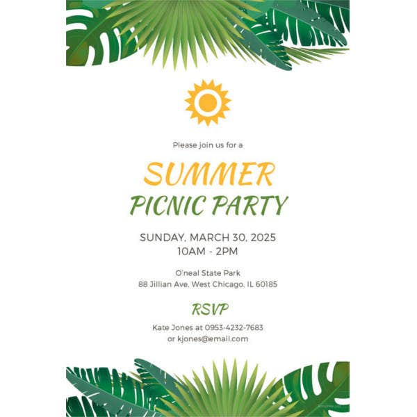 summer picnic party invitation template
