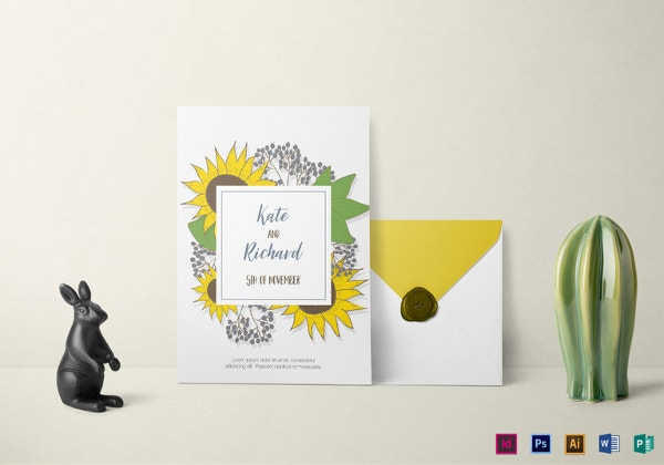 sunflower wedding invitation template1