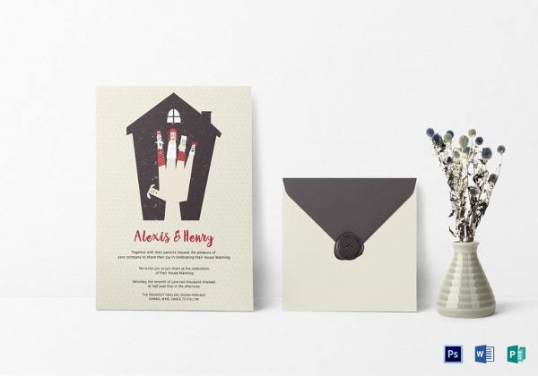 thrilling housewarming invitation card template
