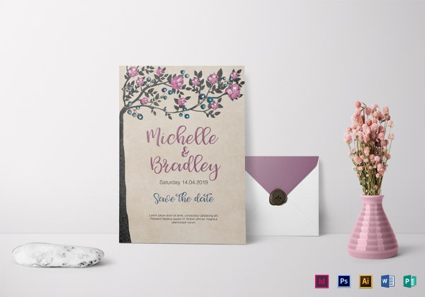 tree wedding invitation template