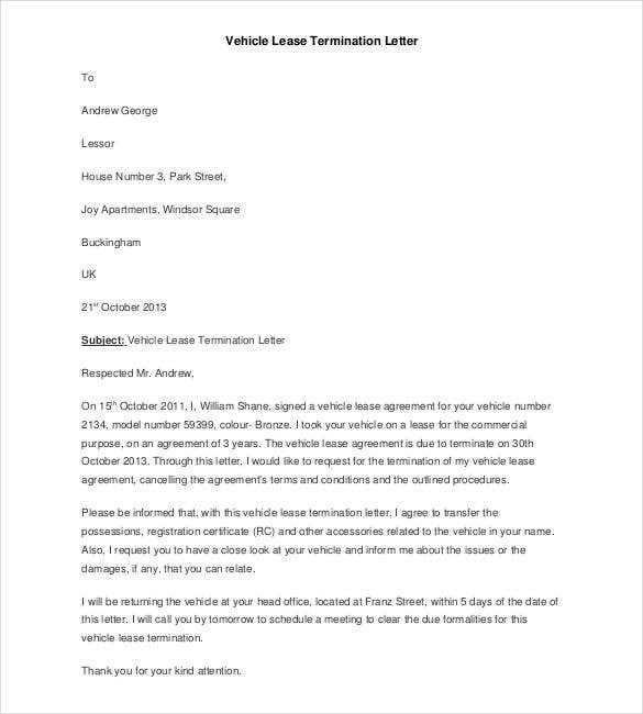 Sample Vehicle Lease Termination Letter Template
