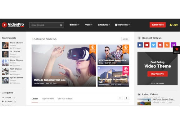 videopro video wordpress theme