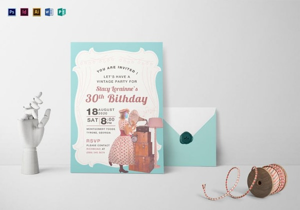 vintage birthday invitation template