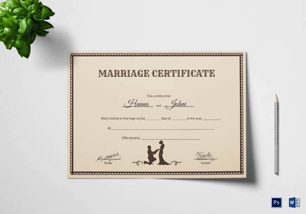vintage marriage certificate template