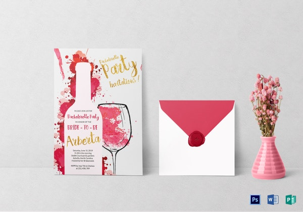 watercolor bachelorette party invitation card