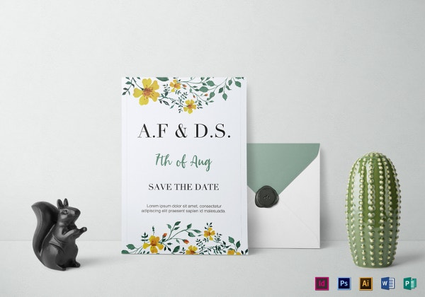wild flowers wedding invitation template