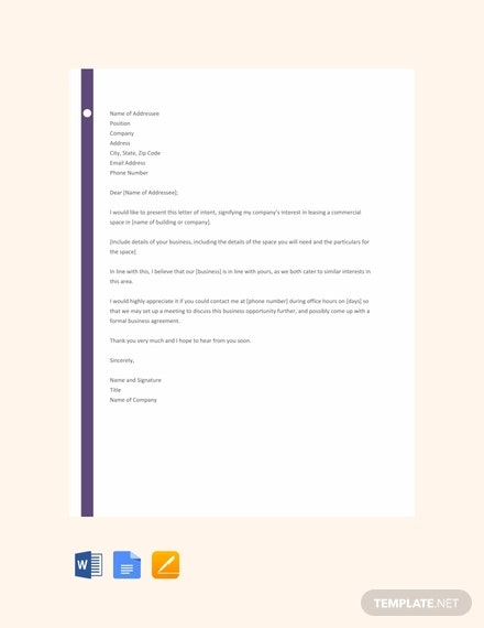 free letter of intent for business