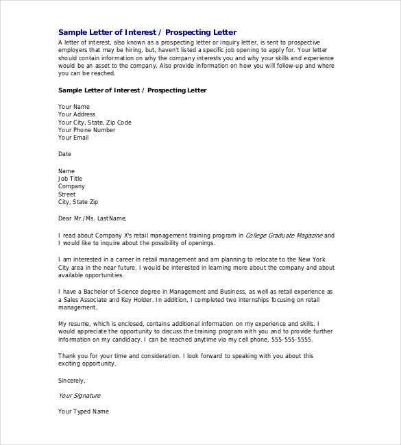 sample letter of intent for job opening - Letter Of Interest For A Job Template