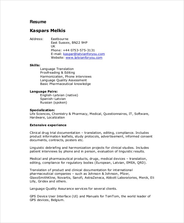 medical proofreader resume