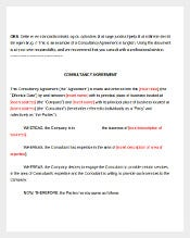 Consultancy Consultant Agreement Template