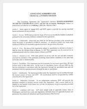Consultant Agreement For Financial Agreemet Services