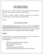 Memorandum of Agreement Jointly Awarded Phd Degree