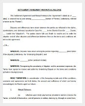 Mutual Release Settlement Agreement Document