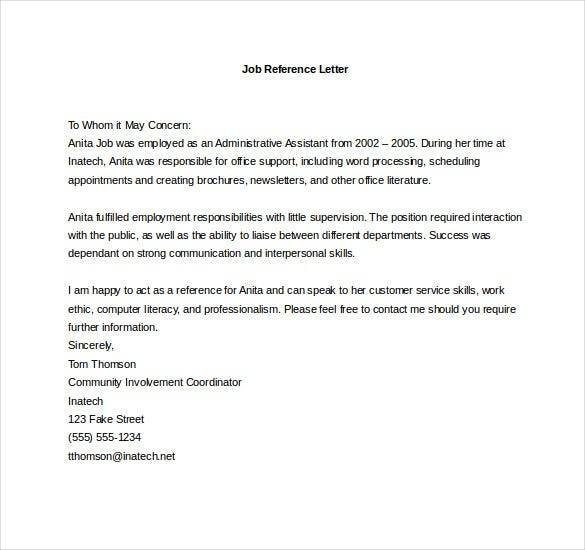 Administrative Assistant Reference Letter Example Of Cover – Reference Letter for Job Sample