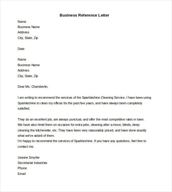 free business reference letter word format download