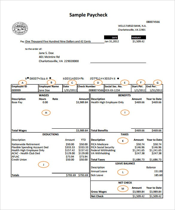 Wells Fargo Bank Payroll Check Template PDF  Payroll Receipt
