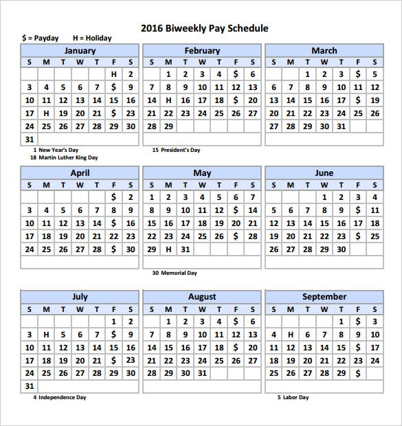 2016 biweekly pay calendar template printable