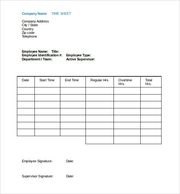 free employee payroll time sheet template word doc