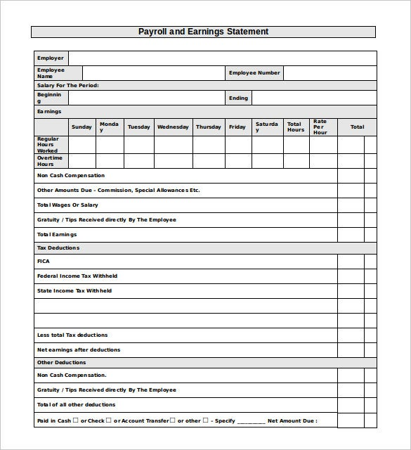 payroll earning statement template word format download